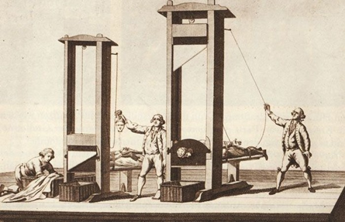 Getreue Abbildung der Guillotine zu Paris, um 1792, © Bibliothèque Nationale Paris